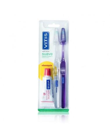 Pack Cepillo VITIS® suave duplo + mini pasta 15ml